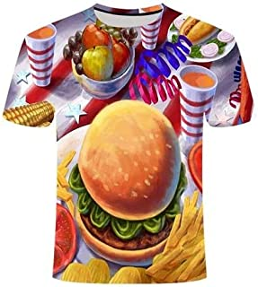 TX024 S 2019 New 3D T-Shirt Men's Beer/Burger/Poker Hip hop O Collar Short-Sleeved Men's/Women's T-Shirt top Jumpsuit Vest