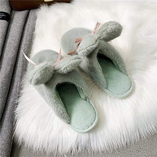 UXZDX Zapatillas De Casa para Mujer, Punta Redonda con Piel Sintética, Zapatos De Invierno A La Moda, Mantener Caliente, Orejas De Conejo para Mujer (Color : Green, Size : 37)