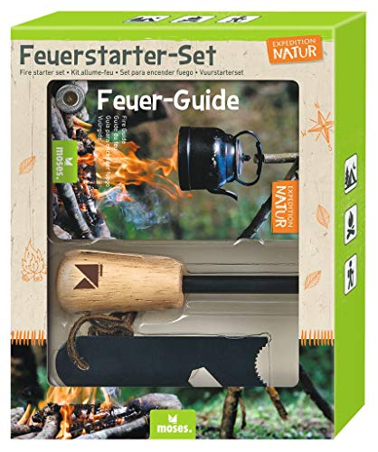 Expedition Natur Feuerstarter-Set | Feuerstahl für Outdoor & Survival | Magnesium Feuerstarter mit Flaschenöffner Sechskantschlüssel & Feuer-Guide | Firestarter für Kinder