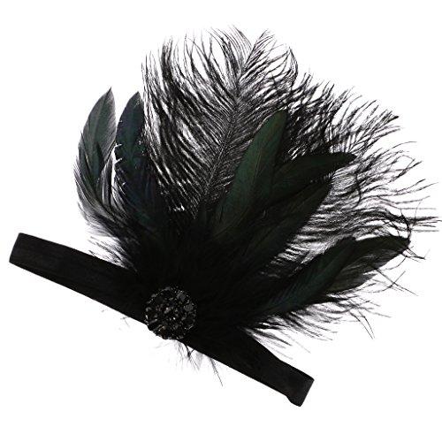 Bandeaux de Cheveux Hauteur Plume Noire Robe Garçonne Costume Hairband Headpiece Nuptiale