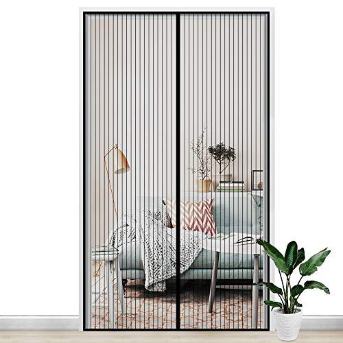 Gimars Cortina mosquitera doble magnetica puerta exterior sin tornillos, Mosquitera puerta corredera lateral con iman para terraza/habitacion 140 * 240 cm Fácil de instalar