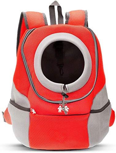 ZHTY Pet Carrier Backpack Chien Sac à Dos pour Animaux de Compagnie Sac de Transport pour Petits Chiens, Chats, Head Out Design Airline, approuvé pour la randonnée à vélo Orange XL