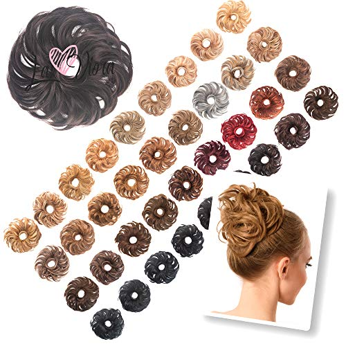 La Viora® Haarteil Haargummi mit Haaren (45g), Hair Extensions Dutt Haarteile für hochsteckfrisuren gewellt, Fruchtig Duftende Dutt Haargummi Haarteil, Dutt Haarteil...