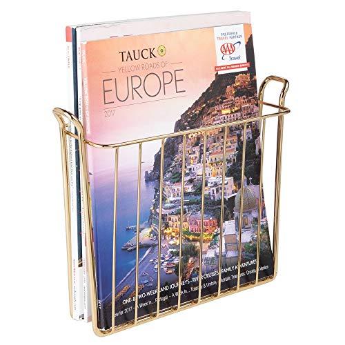mDesign Zeitungshalter für die Wand - praktischer Zeitschriftensammler aus Metall für Bad und Büro - moderner Zeitungshalter zur Wandmontage für Bücher und Tablets - messingfarben