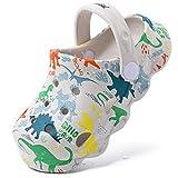 techcity Kids Dinosaur Garden Shoes Cute Cartoon Sandals Clogs Toddler Beach Pool Water Shoes Summer Slides for Boys Girls (Grey, Numeric_6)