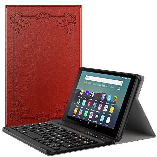 MoKo Keyboard Funda Compatible con Kindle Fire 7 Tablet (9th Generation - 2019 Release), Wireless Bluetooth Teclado Funda QWERTY - Estilo Vintage
