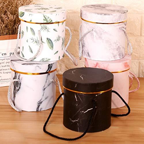 N / A Marmor runde Weihnachtsgeschenkverpackung mit Seil Festliche Party liefert tragbare kleine Blumenkasten Geschenk Aufbewahrungsbox 13x13CM