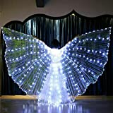 LED Isis Wings Glow Light Up Wing Belly Dance Disfraces con palos para adultos, ropa de rendimiento para carnaval, Halloween, escenario (blanco)