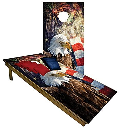 BackYardGamesUSA Cornhole Boards BEANBAG TOSS Game w Bags Patriotic US American Eagle...
