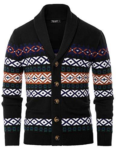 PJ PAUL JONES Men's Fair Isle Sweater Shawl Collar Button Thick Knit Cardigan Sweaters Black L