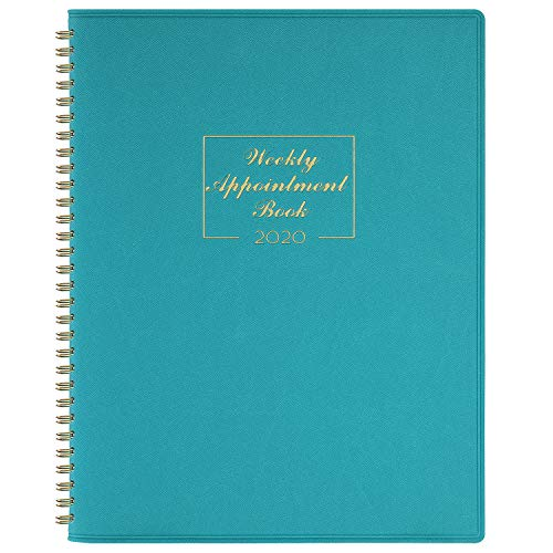 2020 Weekly Appointment Book & Planner - 2020 Daily Hourly Planner 8.4' x 10.6', Jan - Dec, 15-Minute Interval, Flexible Soft Cover, Twin-Wire Binding, Lay - Flat, Turquoise