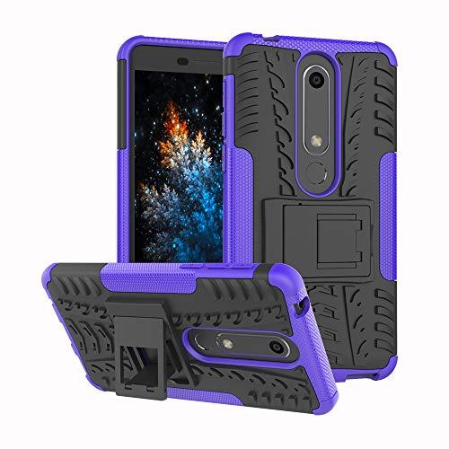MRSTER Nokia 6.1 Custodia, [Heavy Duty Protezione] [Dual Layer] Difficile Silicone Kickstand Ibrida Shock Proof Cover Custodia Compatibile Nokia 6.1 (2018). Hyun Purple