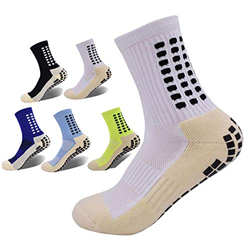 Compression Sock for Men and Women,Non Skid Hospital Socks,Crew Athletic Casual Sock (white)