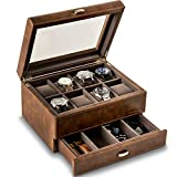 TAWBURY 8 Slot Watch Box with Drawer – Luxury Wrist Watch Display Case | Brown Leather Watch Case for Large Watches | Mens Jewelry Box and Watch Organizer | Watch Storage Box | Watch Box Organizer