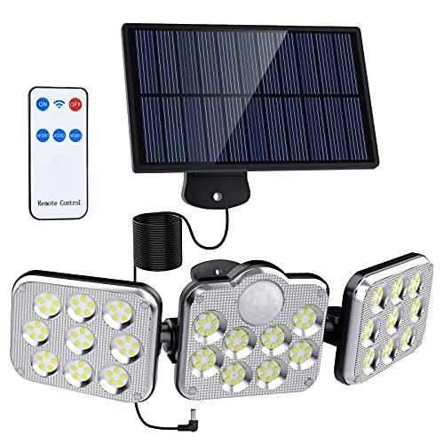 Solarlampen für Außen mit Bewegungsmelder, 138 LED Solarleuchten für außen, 360° Drehbare Solar wandleuchten,3 Modi 2400 mAh IP65 Wasserdichte Solar Außenwandleuchten für Garage Carport Terrasse