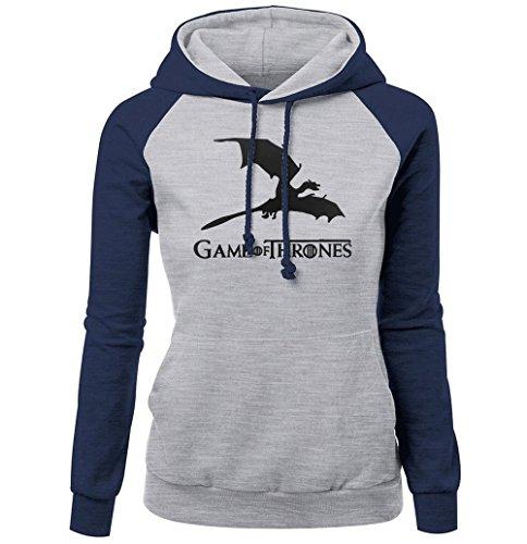 Game of Thrones Femme Sweatshirt à Capuche Manches Longues Sweatshirt Imprimé Tops Hoodie Pullover De Sport (3,EUM(AsianL))