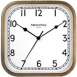 PresenTime & Co 10 Anton Vintage Square Clock, Silent No Ticking, Antique Hamilton Gold.
