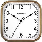 PresenTime & Co 10' Anton Vintage Square Clock, Silent No Ticking, Antique Hamilton Gold.