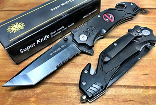 """Deadpool Spring Assisted Pocket Knife, Folding Pocket Knife 8.5"""" Length, Stainless Steel Tactical Knife with Cleaver Blade 3.5"""" Perfect for Camping, Hunting, Indoor, Outdoor Activities"""