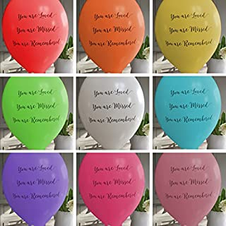 ANGEL & DOVE 25 Rainbow Mix 'You are Loved, Missed, Remembered' Biodegradable Funeral Remembrance Balloons - for Memory Table, Memorial, Condolence, Celebration of Life