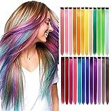 Lanse 24 unids/pack 24 colores 21 pulgadas colorido recto extensiones clip pelo sintético largo arco iris seleccionado para mujeres niñas niños regalos