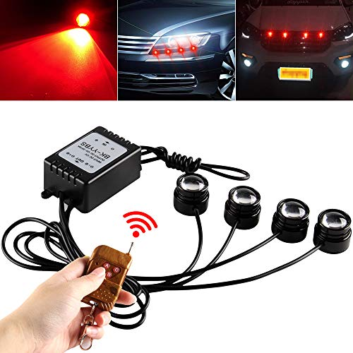 Teguangmei 4 en 1 Eagle Eye LED de Advertencia Estroboscópica,Con Kit Control Remoto Inalámbrico,para Luz Diurna de Coche Motocicleta Luz Diurna DRL/Luz de Marcha Atrás,DC12V- Rojo