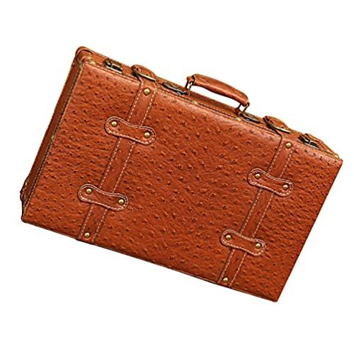 FOMIYES Maletas decorativas de madera vintage maletas retro pu cuero maleta almacenamiento baúl caja antigua para equipaje de viaje