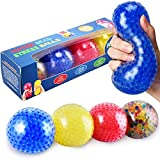 KELZ KIDZ Durable Jumbo Squishy Water Bead Stress Balls (4 Pack) - Great Sensory Toy for Anxiety Relief for Children and Adults - Helps Calm Kids with ADHD & Autism