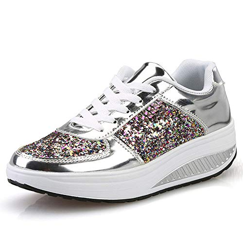Fannyfuny Zapatillas de Deportivo Mujeres Zapatos para Correr Ligeras Lentejuelas Zapatos Deportivos de Batido Mocasines de Plataforma Casuales Transpirables Zapatos (39, Plata)