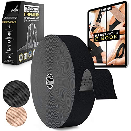 (135 Feet) Bulk Kinesiology Tape Waterproof Roll Sports Therapy Support for Knee, Muscle, Wrist, Shoulder, Back/Original Uncut Premium Therapeutic Elastic & Hypoallergenic Cotton - (Black)