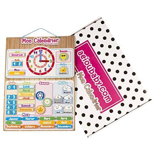 MAGNETISCHE KINDER-KALENDERUHR, Lernspiel Datum Wetter und Zeit für Wand oder Kühlschrank, 43x32cm. Ideale Box als Geschenk zum Kindergeburtstag in der Schule oder im Kindergarten (Französisch)