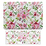 Plastic Hard Shell Case & Keyboard Cover Compatible with MacBook Air 13 (Models: A1466、A1369), Lush Watercolor Flowers Roses Pattern Laptop Keyboard Membrane Protective Shell Set