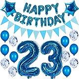 Decoración para 23º cumpleaños de hombre, color azul, juego de decoración para 23 años, 23 años, 23 cumpleaños de hombres, globos de color azul