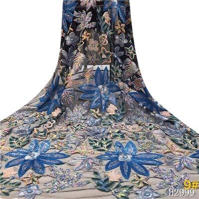 Afrikanische Schweizer Voile-Spitze-Gewebe Pailletten-Spitze-Gewebe African Französisch Tüll Stoff Stickerei for Pailletten Spitze Nigeria-Partei-Kleid für Kleid (Color : Blue, Size : 5 Yards)