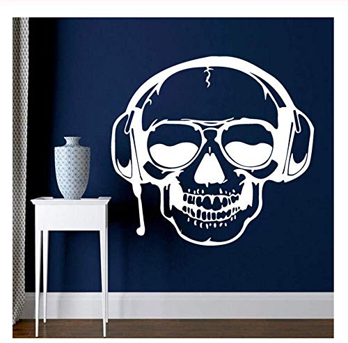 Große 3D-Wandaufkleber Schädel Musik Haushalt Abnehmbare Halloween-Dekoration Maison Home Decor Ornamente Adesivo Murale 57 * 61Cm