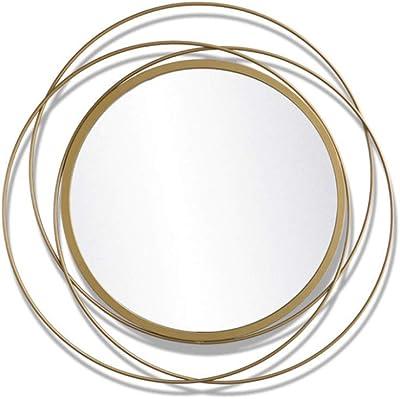 Color : Silver ZYACHI Espejo Viento Industrial Retro Hierro Forjado Espejo Colgante Bar Caf/é Decoraci/ón De Pared Colgar En La Pared Espejo De Ba/ño