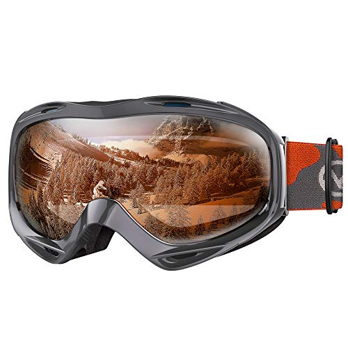 OutdoorMaster OTG Ski Goggles - Over Glasses Ski/Snowboard Goggles for Men, Women & Youth - 100% UV Protection (Pattern Frame + VLT 23.8% Orange Lens with REVO Silver)