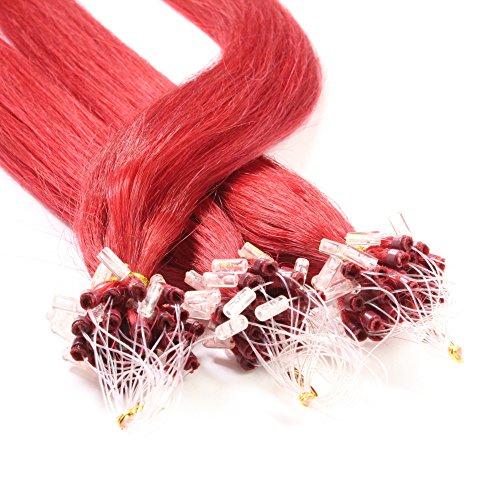 hair2heart 100 x 1g Echthaar Microring Loop Extensions, 50cm - glatt - #rot - Loops Haarverlängerung