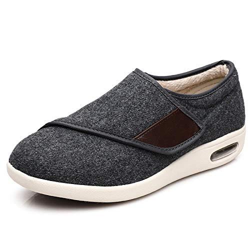 Réglable Orthopédique Sandales ,Automne et hiver plus chaussures chaudes en velours, plus engrais Velcro chaussures antidérapantes-Nizibu gris_43,Fermetures Pieds gonflés d'oedème de Bottes Pantoufles