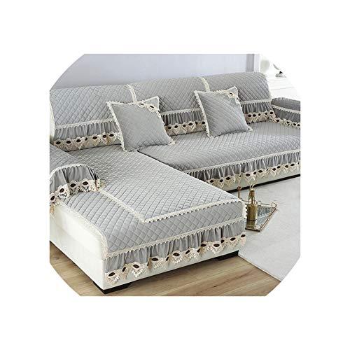 DAWN&ROSE Europe - Funda de sofá para Sala de Estar seccional de Felpa, decoración, de Encaje, para Esquina o sofá, Protector de Muebles para el hogar, Color Gris, 1 Pieza, 70 x 150 cm, 1 Unidad