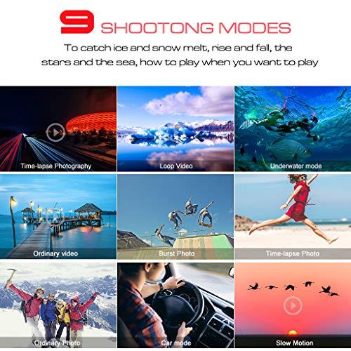 【2019 New】Apexcam Action cam 4K 20MP Sportkamera EIS WiFi Wasserdichte Unterwasserkamera 40M Externes Mikrofon 2.0'LCD 170 ° Weitwinkel 2,4G Fernbedienung 2x1200mAh-Batterien und mehrere Zubehörteile - 5