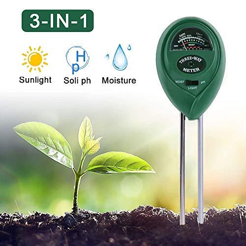PECHTY Bodentester, 3-in-1 Pflanzen Bodentester Bodenmessgerät Feuchtigkeitsmesser Boden pH Tester Boden Feuchtigkeit Meter, für Pflanzenerde, Garten, Bauernhof, kein Batterien erforderlich