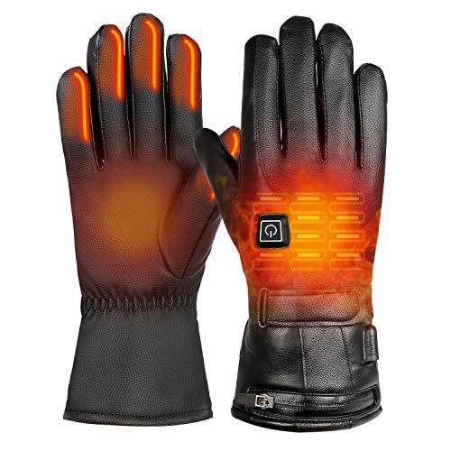 Qdreclod Beheizbare Handschuh Mit Mit wiederaufladbarem Akku, 3 Stufen der einstellbaren Temperatur, Herren Damen Winterhandschuhe Winddicht Warm, Mit Touchscreen-Funktion