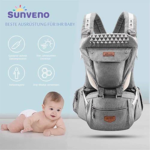 SUNVENO Baby Hipseat Ergonomic Baby Carrier Soft Cotton 3-in-1 Safety Infant Newborn Holder Reduce Pression for Outdoor Travel 6-36 Months (Gray)