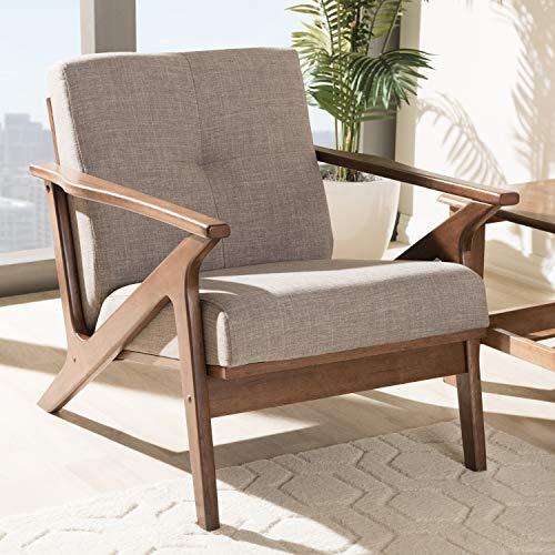"Baxton Studio Bianca Mid-Century Modern Walnut Wood Light Grey Fabric Tufted Lounge Chair Mid-Century/Light Grey/Walnut Brown/Fabric Polyester 100%""/Rubber Wood/"