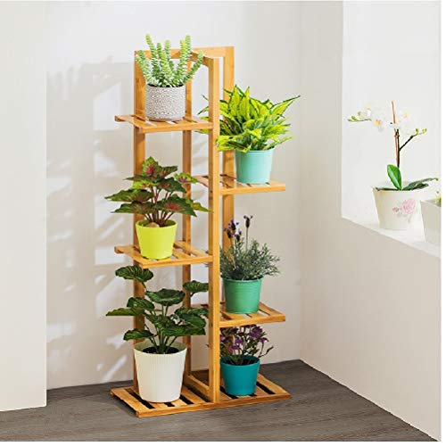 5 Tire Plant Stand Natural Bamboo Plant Rack, Indoor Outdoor Bonsai Flowers Display Shelf for Yard Garden Patio Balcony