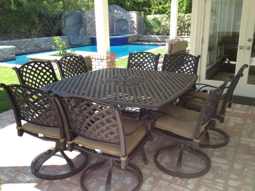 Tourville Outdoor Living Heritage Outdoor Living Nassau Cast Aluminum 9pc Outdoor Patio Dining Set with 64'x64' Square Table - Antique Bronze