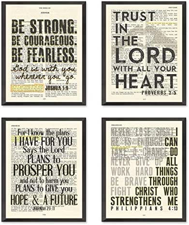 Joshua 1 9 Proverbs 3 5 Jeremiah 29 11 Philippians 4 13 Christian Art Prints Set of 4 Unframed product image