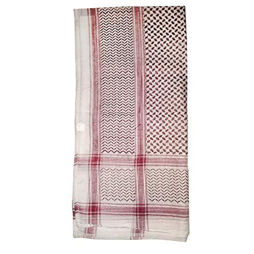 Maroon & Wit Keffiyeh mannen moslim Arafat sjaal sjaal Turban Sorban 120x120cm