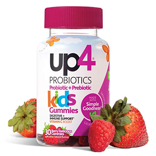 up4 Kids Probiotic Gummies | Digestive and Immune Support | Gelatin-free, Vegan, Non-GMO | With prebiotic and vitamin C | For ages 3+ | 30 count, Multi, Berry